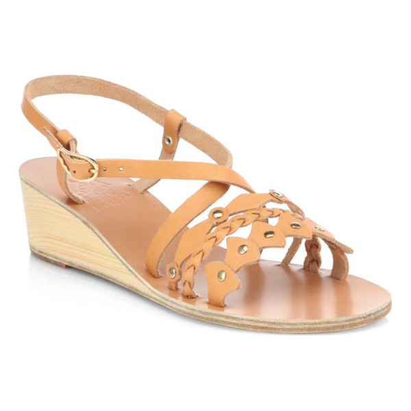 ANCIENT GREEK SANDALS Lysistrate leather wedge sandals - A wooden wedge adds natural style to a supple leather...