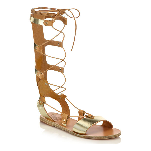 ANCIENT GREEK SANDALS thebes metallic leather tall gladiator sandals - Gilded leather lends goddess-inspired glam to tall lace-up...