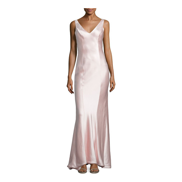 ANNA MAIER rita satin gown - A draped back highlights this luxurious satin gown.V-neck....