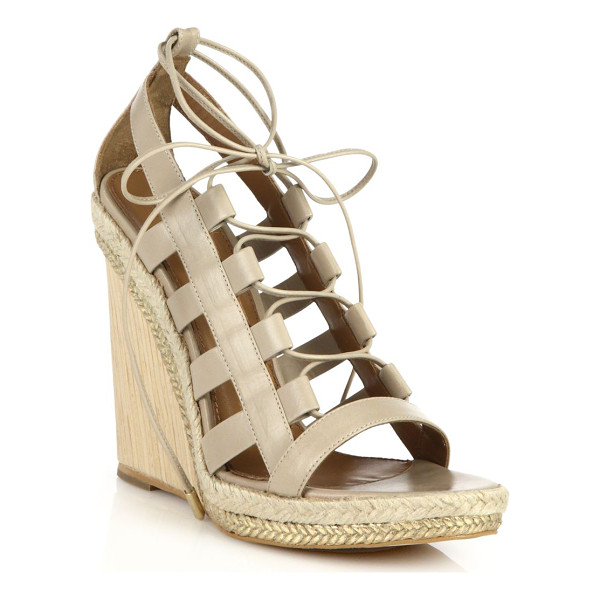 AQUAZZURA Amazon espadrille & wooden-wedge lace-up leather sandals - Towering with an espadrille and wooden wedge heel, these...