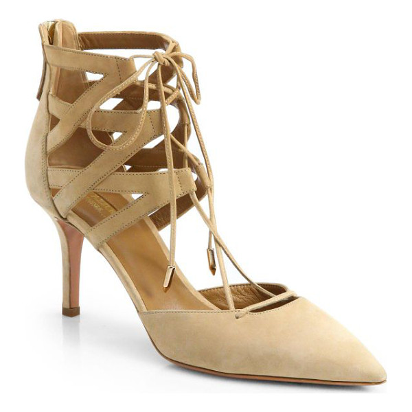 """AQUAZZURA belgravia suede lace-up pumps - Lace-up suede pump with point toe. Self-covered heel, 2.75""""..."""