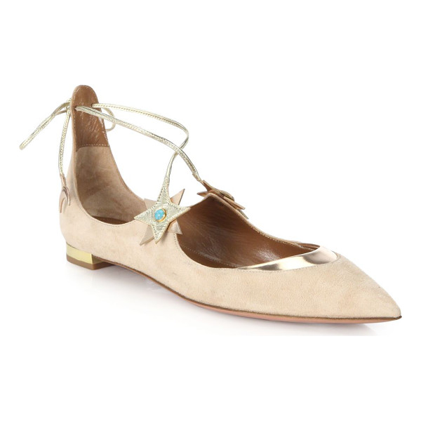 AQUAZZURA By poppy delevingne midnight lace-up flats - From the Aquazurra by Poppy Delevigne CollectionSuede...