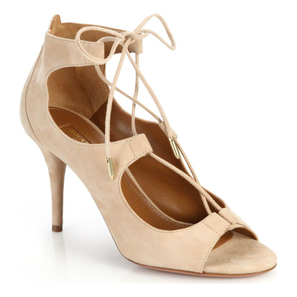 AQUAZZURA Christy open-toe lace-up suede pumps - Sophisticated neutral suede pumps updated by a...