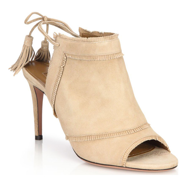 AQUAZZURA colorado peep-toe booties - Subtle fringe accents these chic booties. Self-covered...