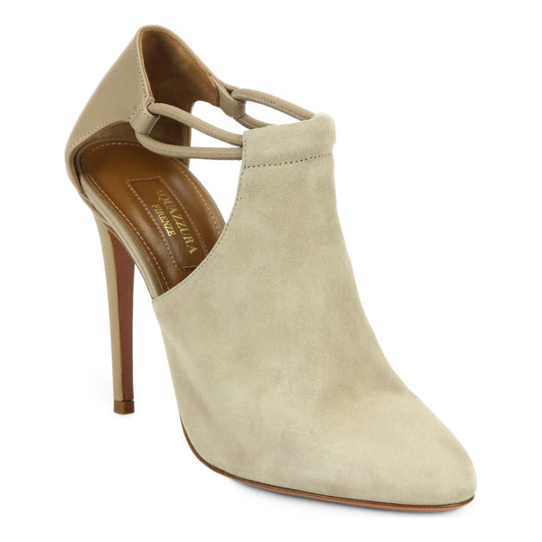 AQUAZZURA Darling cut-out suede booties - Ankle-baring cutouts modernize a smooth suede bootie,...