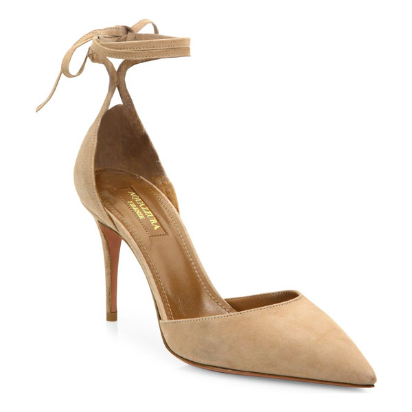 AQUAZZURA heart breaker suede ankle-wrap pumps - Sultry suede d'Orsay pump with lace-up ankle ties....