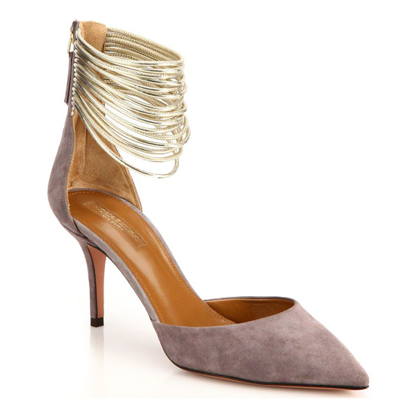 AQUAZZURA Hello lover suede & calf hair t-strap pumps - A dazzling study in textures, this T-strap pump is rendered...