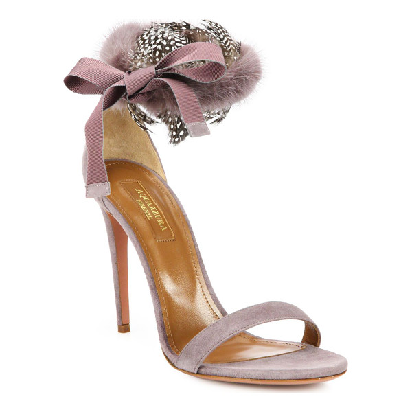 AQUAZZURA Iris fur & feather-trimmed suede d'orsay strappy sandals - Fluffy mink and wispy feathers at the back of a graceful...