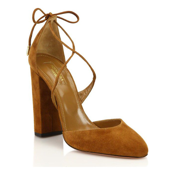 AQUAZZURA karlie suede lace-up pumps - Suede block heel pump with slender laces. Self-covered...