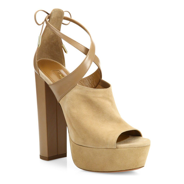 AQUAZZURA kaya plateau suede & leather platforms - Refined platforms with chic tonal colorblocking.