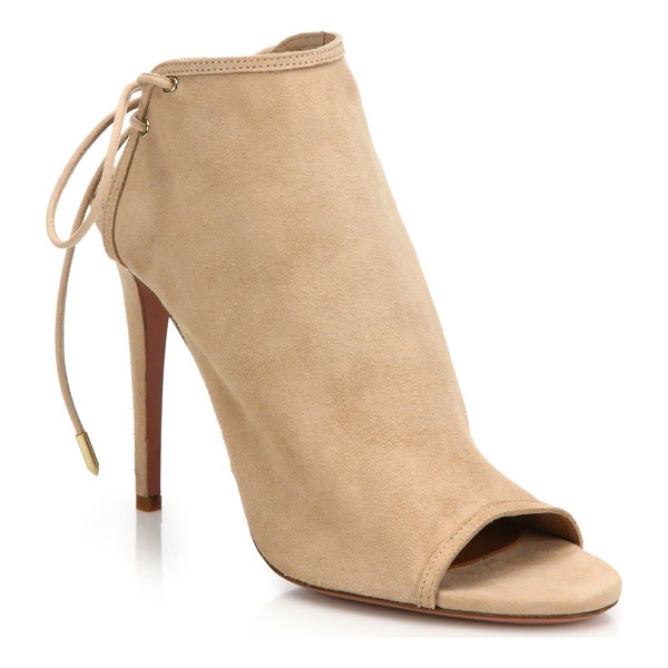 AQUAZZURA mayfair suede lace-up peep toe booties - Supple suede booties with chic lace-up back. Self-covered...