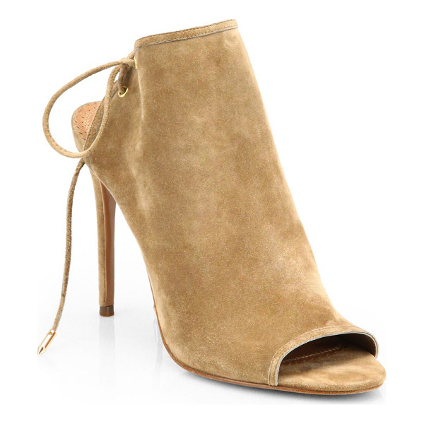 AQUAZZURA mayfair suede open-toe booties - Crafted to last by Italian artisans, a sexy open-toe suede...