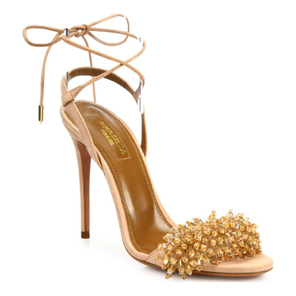 AQUAZZURA monaco crystal & suede sandals - Sultry suede sandal with crystal-embellished strap....
