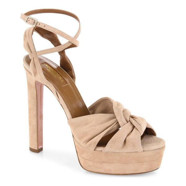 AQUAZZURA movie star suede platform sandals - Twisted suede platform sandal with ankle-wrap strap.