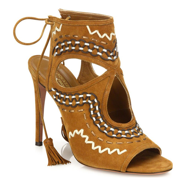 AQUAZZURA sexy thing folk suede sandals - Boho-chic stitched suede sandal with teardrop cutouts.