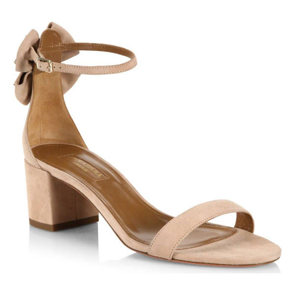 AQUAZZURA siena bow suede ankle-strap sandals - Suede ankle-strap sandal backed with star-studded bow....