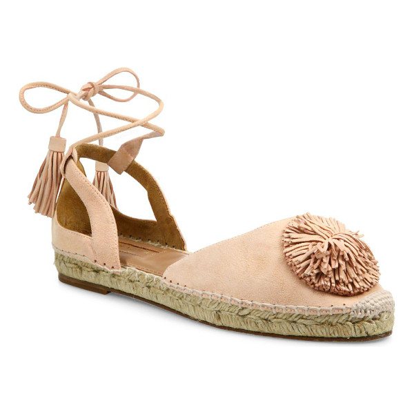 AQUAZZURA sunshine pom-pom suede espadrille flats - EXCLUSIVELY AT SAKS FIFTH AVENUE. Suede espadrille flat