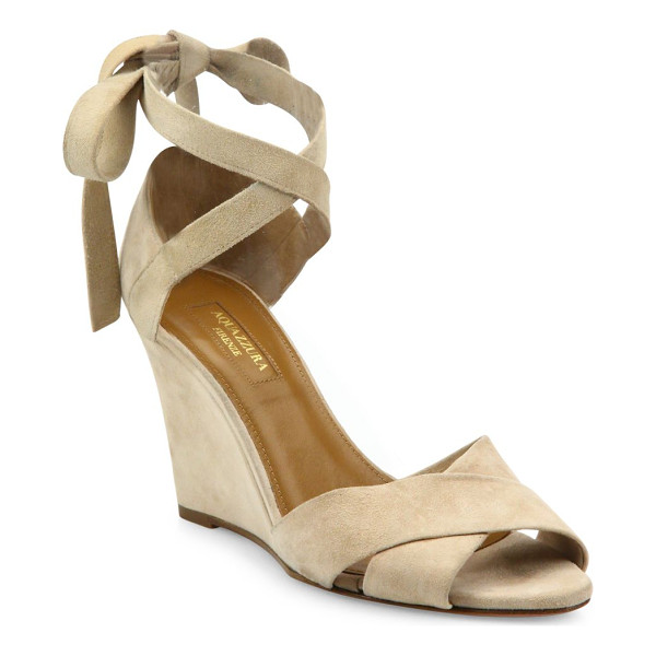 AQUAZZURA tarzan crisscross suede wedge sandals - Brushed suede straps crisscross atop wedge sandal.