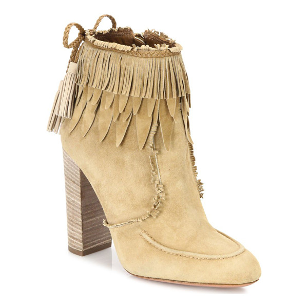 AQUAZZURA tiger lily fringed suede booties - Tiered fringe and feathers top spirited suede bootie.