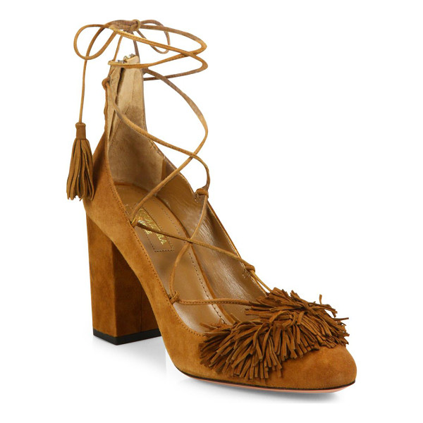 AQUAZZURA wild fringed suede lace-up block-heel pumps - Boho-chic suede lace-up sandal with fringed panel.