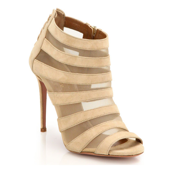 AQUAZZURA Wild side suede & mesh striped cage sandals - Subtly sexy lace-up detail at the back emboldens an...