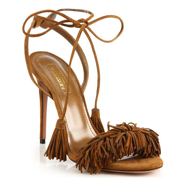AQUAZZURA wild thing fringe suede sandals - Alluring fringed suede sandal with tassel ankle ties.