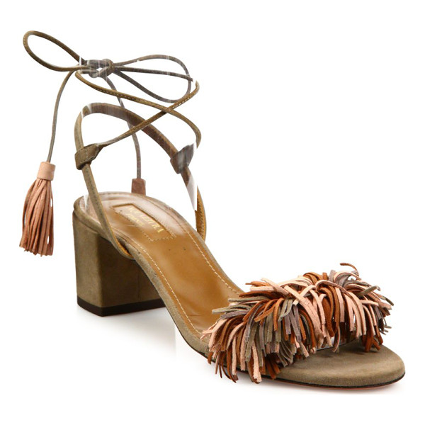 AQUAZZURA wild thing fringed suede sandals - Boho-chic suede sandal with multicolor fringe and tassels....