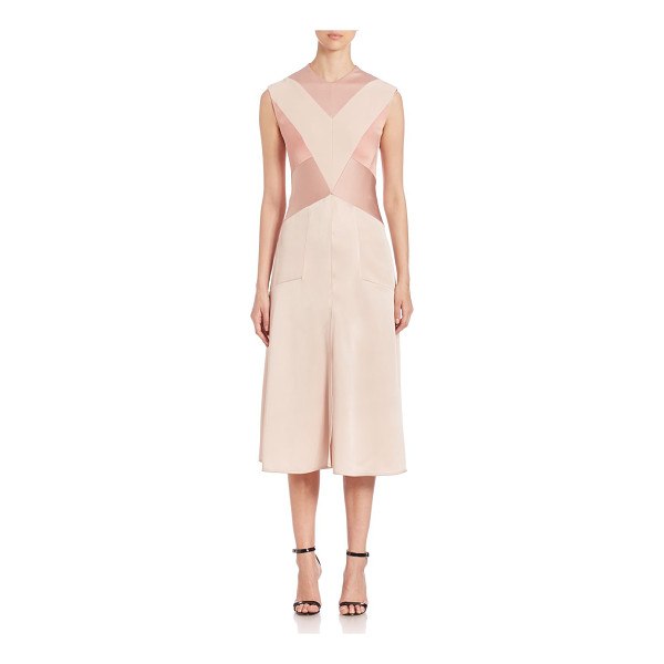 AQUILANO RIMONDI sleeveless satin colorblock dress - Geometric colorblock motif styles sleeveless satin dress....