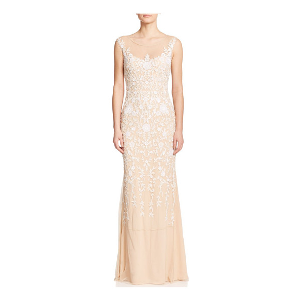 BADGLEY MISCHKA Beaded floral gown - An intricate beaded floral design envelops this lithe...
