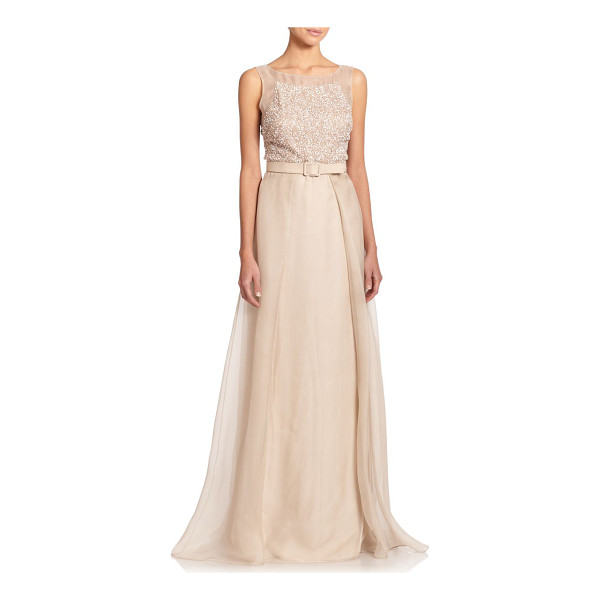 BADGLEY MISCHKA Beaded silk belted ball gown - An evening design of Old Hollywood allure, this champagne...