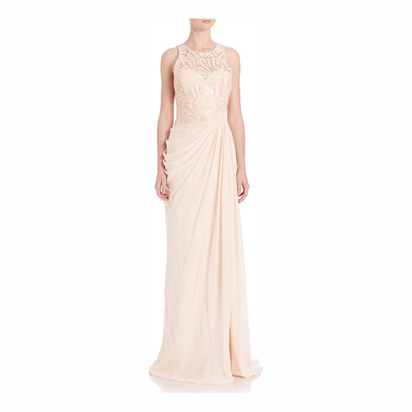 BADGLEY MISCHKA draped sequin lace gown - Sequined lace bodice tops elegantly draped skirt....
