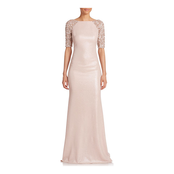 BADGLEY MISCHKA Embellished raglan-sleeve gown - Delicate tonal beading tones down the sporty-inspired...