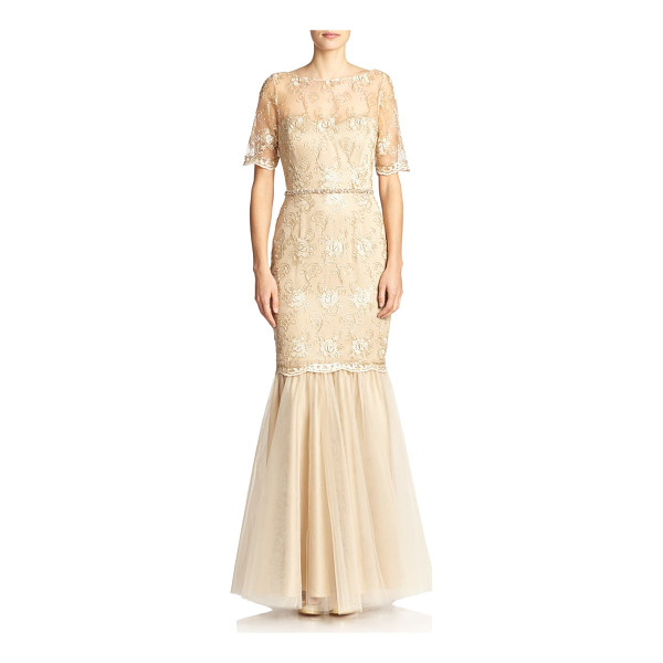 BADGLEY MISCHKA Embroidered floral mermaid gown - Intricate floral embroidery elevates this timeless mermaid...