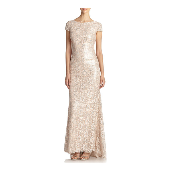 BADGLEY MISCHKA Metallic lace backless gown - This evening gown of pale, feminine floral lace, beset with...