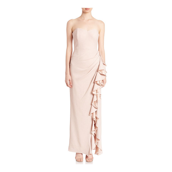 BADGLEY MISCHKA Pebbled crepe ruffled gown - Cascading ruffled slit defines sleek gownSweetheart...