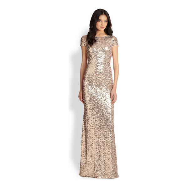 BADGLEY MISCHKA sequin gown - Classic breathtaking gilded-sequin gown with a slinky fit...