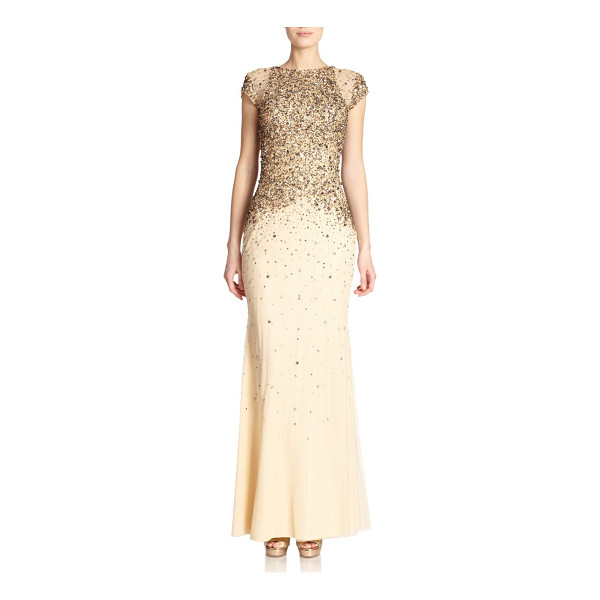 BADGLEY MISCHKA Sequined cap sleeve gown - A dusting of beaded and sequined embellishment dresses up...