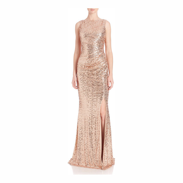 BADGLEY MISCHKA sequined cowl-back gown - Gathered, cowl-back gown featuring allover sequins. Bateau...