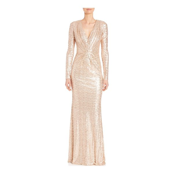 BADGLEY MISCHKA sequined long sleeve v-neck gown - Shimmery sequins glamorously style long-sleeve gown.V-neck....