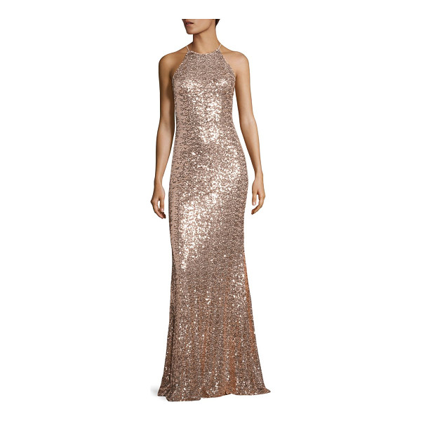 BADGLEY MISCHKA sequined racerback gown - Enchanting gown embellished with gleaming sequins. Halter...