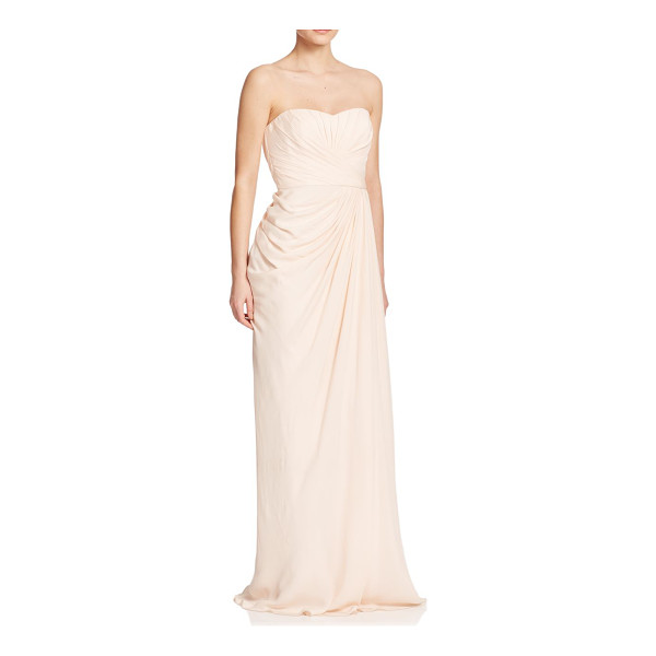 BADGLEY MISCHKA Silk ruched gown - Multidirectional ruching creates a flattering draped effect...