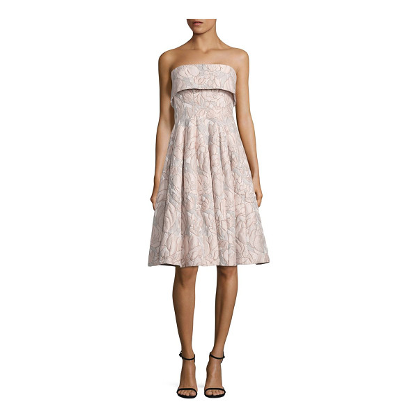 BADGLEY MISCHKA strapless floral jacquard dress - Flared jacquard dress in ladylike floral motif. Straight...
