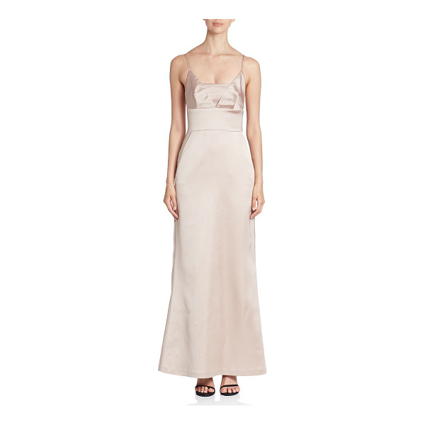 BAILEY 44 squareneck spaghetti gown - Figure hugging silhouette with wide banded waist....