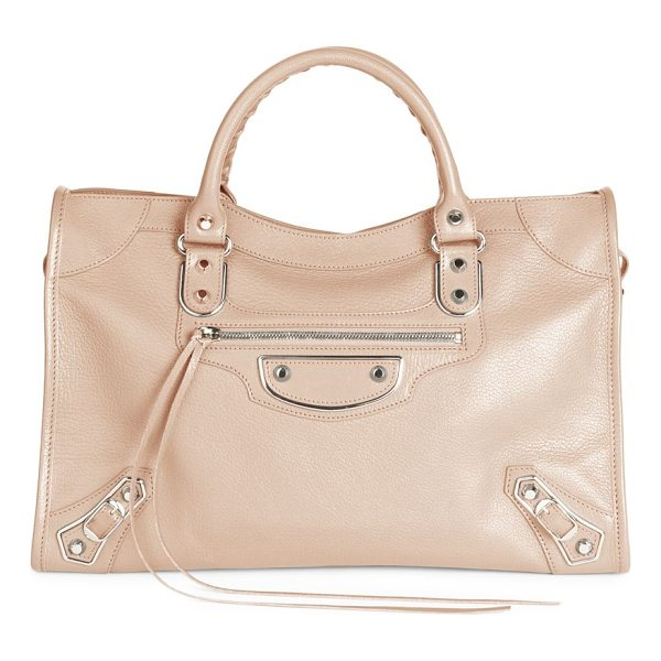BALENCIAGA metallic edge city leather satchel - From the Carry Over collection. Bright-hued leather bag...