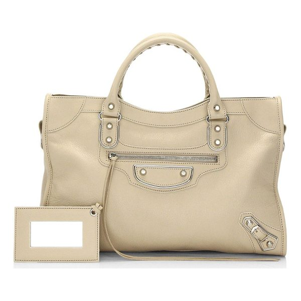 "BALENCIAGA metallic edge city handbag - Leather tote accented with hemming design. Top handle, 5""..."