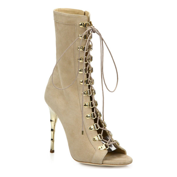 BALMAIN Ava defile suede lace-up boots - Corset-style suede boot set on bamboo-inspired metal...
