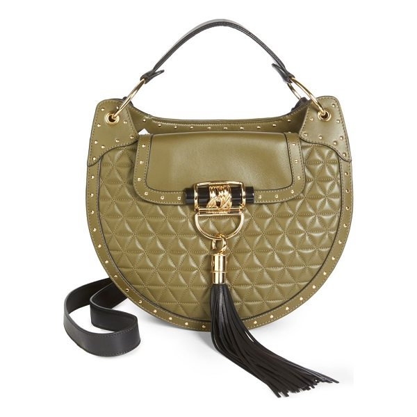 BALMAIN quilted leather saddle hobo bag - Quilted saddle-style bag. Top handle. Adjustable shoulder...