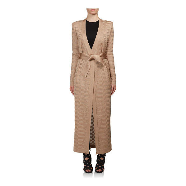 BALMAIN Textured duster cardigan - Textural duster cinched with tie waistCollarlessLong...