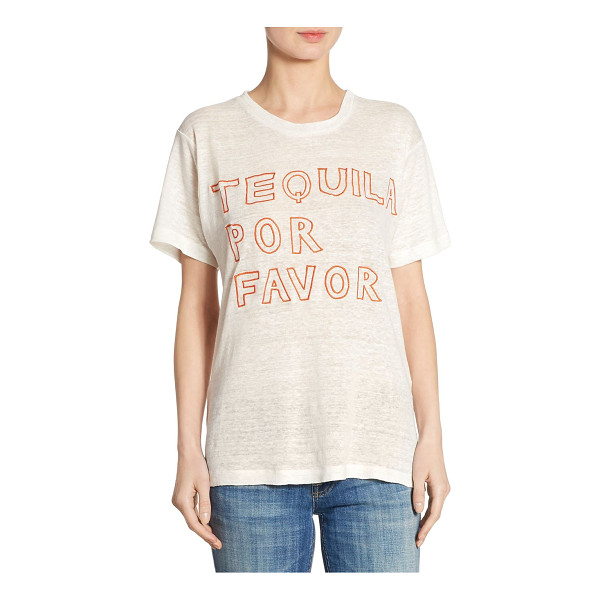 BANNER DAY tequila por favor linen tee - EXCLUSIVELY AT SAKS FIFTH AVENUE. Embroidered tee crafted...