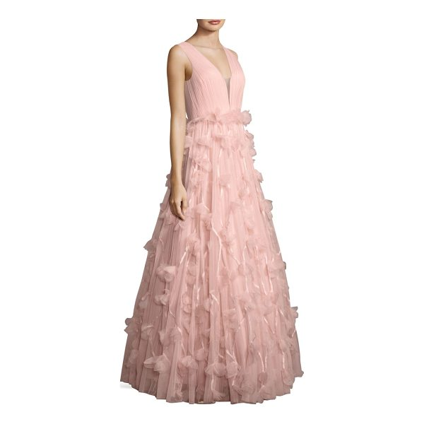 BASIX BLACK LABEL floral ball gown - Pleated gown with airy floral accents.V-neck and back....
